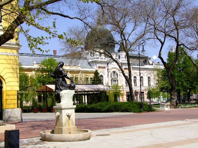 Hodmezovasarhely Hungary  City new picture : Hodmezovasarhely statue in Kossuth Square, bank in the background
